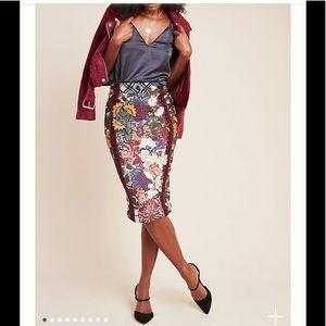 Anthroplogie Jessica floral pencil skirt